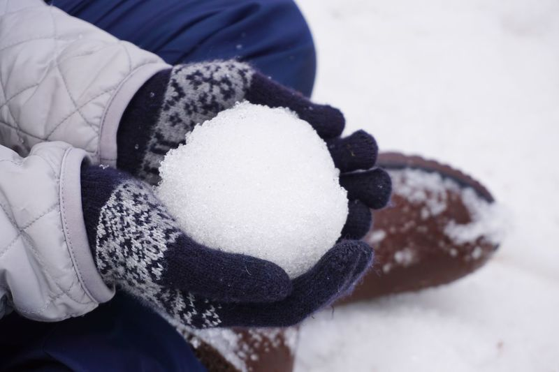 Winter Human Hand One Person Holding Snow Childhood Glove Focus On Foreground Snowball Holiday Close-up Warm Clothing Cold Temperature Protective Glove Outdoor Play Day People Christmas Fun Festive