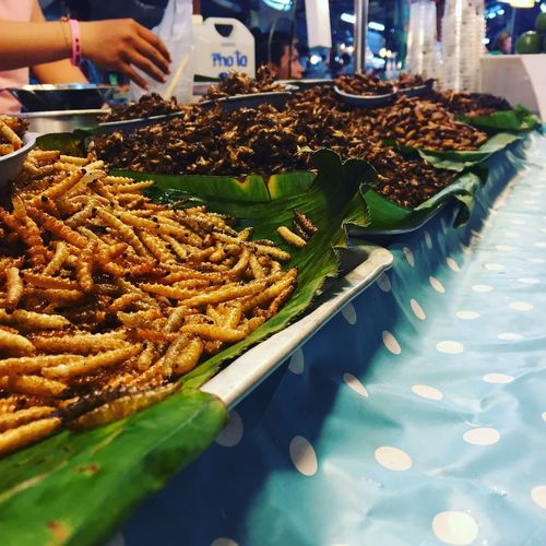 High Angle View Of Fired Insects For Sale In Market