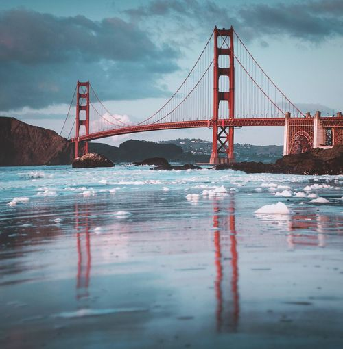 Golden gate from Baker beach Suspension Bridge Bridge - Man Made Structure Connection Engineering Architecture Transportation Travel Destinations Sky Water Travel Built Structure Tourism Bridge Outdoors Cloud - Sky Weather River Waterfront Day Nature EyeEmNewHere The Week On EyeEm