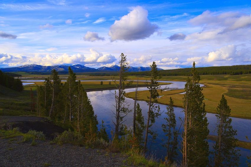 Yellowstone Yellowstone National Park Yellowstonenationalpark Yellowstone River Nature Nature_collection Nature Photography Meandering Meandering Stream Blue Sky Great Outdoors Clouds Mountains Landscape Landscape_Collection Landscape_photography Showcase April