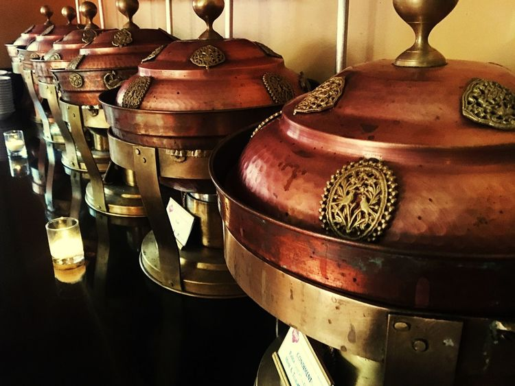 Out to dinner the other night Indian Restaurant Hammered Metal Pattern Texture Warm Colors Craftsmanship Abstract Intricate Details Art Photography Out And About No People Lined Up Light And Shadow