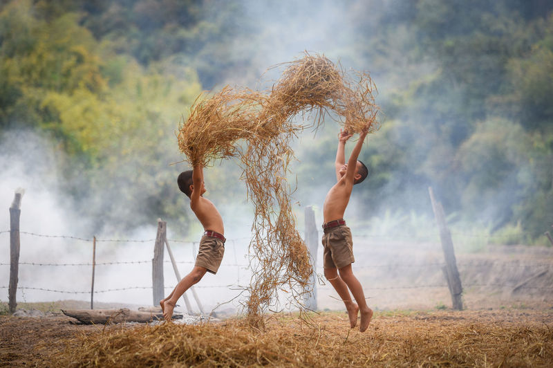 Shirtless boys playing with straws at farm
