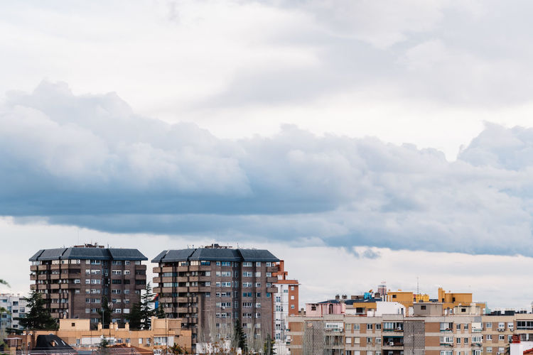 Cityscape of residential district of madrid at sunset