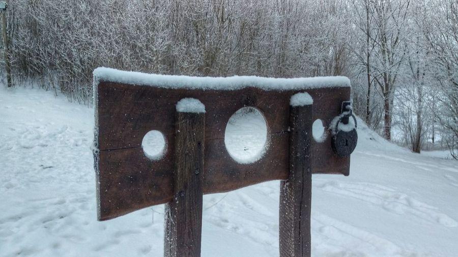 It's Cold Outside Pillory Torture Snow Covered Ekenäs Ekenäs Slott Ekenäs Castle Tourism Scandinavia Sweden Östergötland Cold Winter