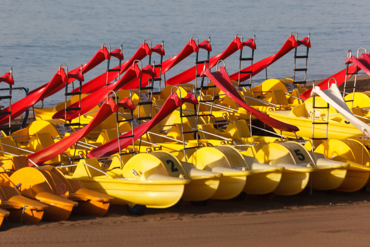 View of boats moored at beach