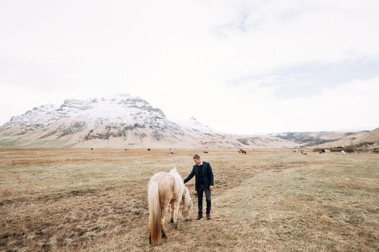 Full length of man patting horse