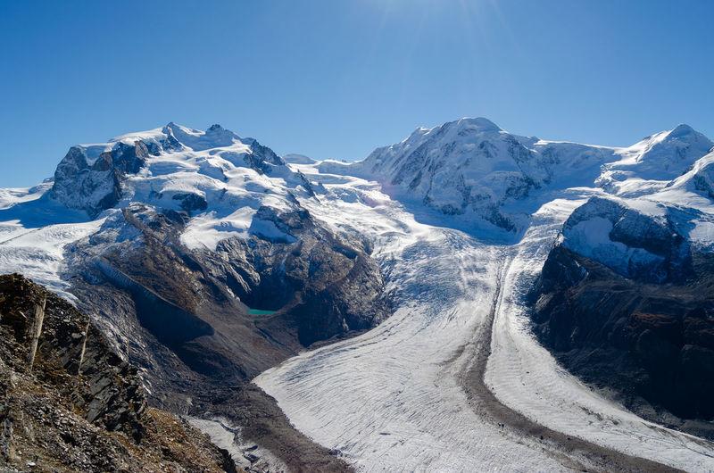 Glaciar gorner next to matterhorn