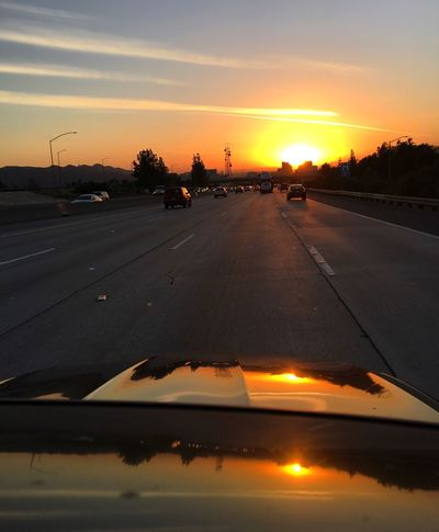 """Sunset Orange Color Sky Beauty In Nature Outdoors """"into the sun we go"""" Glendale CA"""