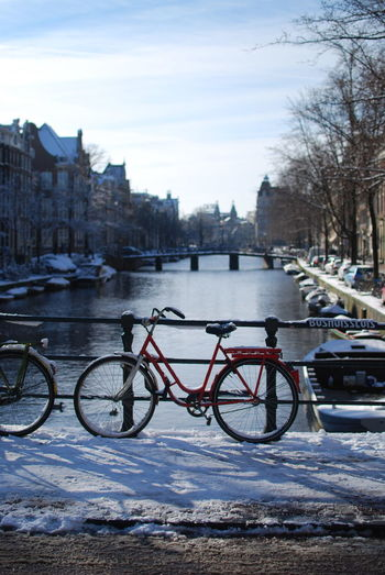 Architecture Bicycle Bridge City Day Mode Of Transport No People Outdoors Snow Transportation Winter