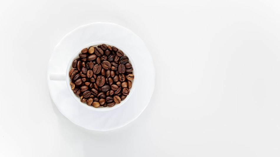 Abundance Aroma Beans Bowl Breakfast Brown Cafe Caffeine Close-up Coffee Cup Cut Out Directly Above Espresso Food Freshness Indulgence No People Overhead View Porcelain  Ready-to-eat Still Life Studio Shot White White Background