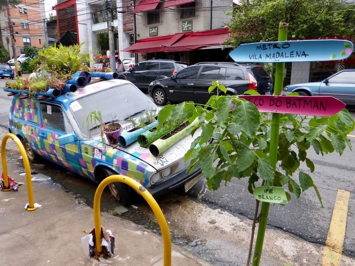 Car With Flowers Alternative Lifestyle Alternative Living Old Car Auto Mit Blumen Sao Paulo - Brazil Stadt Buntes Auto Transportation Day No People Ungewöhnlich Ungewöhnlicher Blumentopf Unikat Selten Einmalig Street City Architecture Urban Gardening Urban Gardens Art Is Everywhere The Street Photographer - 2017 EyeEm Awards