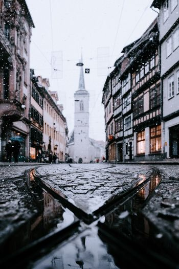 Snow Domplatz / Erfurt Erfurt Architecture Built Structure Building Exterior Water Building Reflection City Winter Snow Wet Cold Temperature Puddle Nature No People Day Street Sky Rain Rainy Season Outdoors