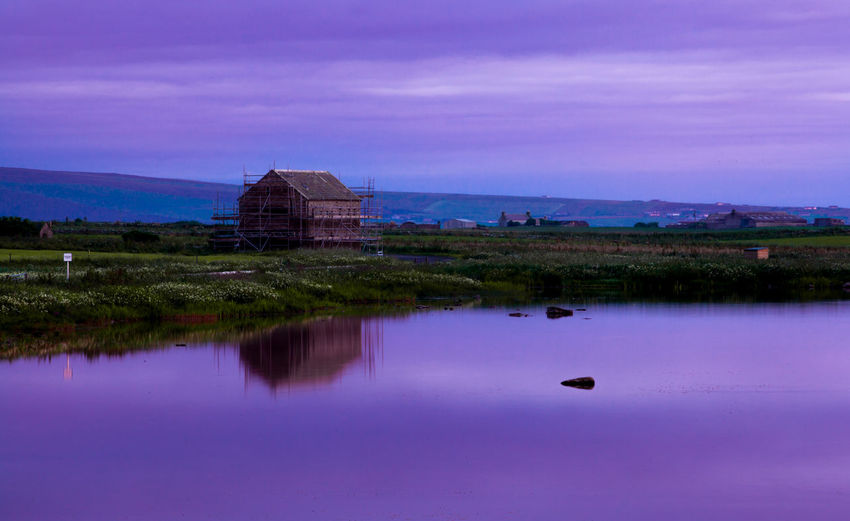 Reflection at dusk. Orkney Islands, Scotland. Beauty In Nature Building Exterior EyeEm Best Shots EyeEm Gallery EyeEm Nature Lover Landscape Landscape_Collection Malephotographerofthemonth Reflection Reflection Lake Scotland Standing Water Sunset Tranquility Travel Destinations Twilight Sky Water