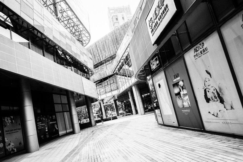 Shopping Mall Black And White Suzhou, China Streetphotography Built Structure