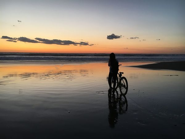 Bicycle Road Sunset Water Nature Sky Beauty In Nature Tranquil Scene Tranquility Sea EyeEmNewHere