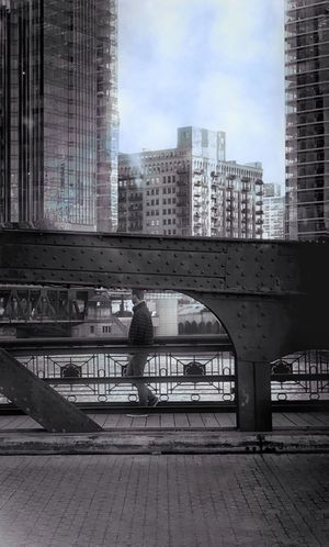 Bridge Bridges Bridge View One Person 🚶🏻 Walking Built Structure ⛓〰〰⛓ Strong Architecture Chicago Architecture Chicago Downtown Street Streetphotography l Urban Urbanphotography Photography IPhoneography EyeEm EyeEm Best Shots EyeEm Gallery EyeEm Best Edits EyeEm Selects Snapseed Edit