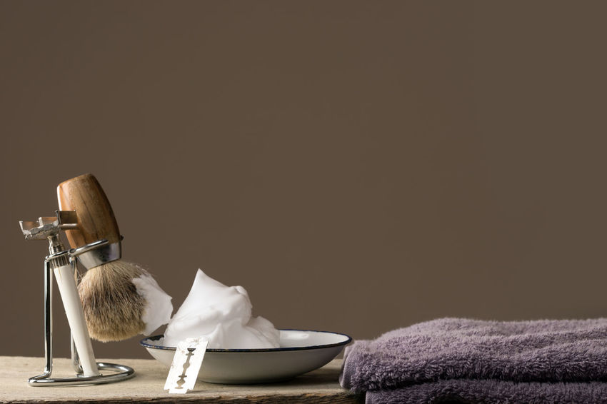 Barber Barbershop Beard Body Care Close-up Copy Space Depilation Equipment Hygiene Indoors  Indoors  Man Men No People Razor Retro Retro Style Shave Shaver Shaving Shaving Brush Table Vintage Wood Wood - Material