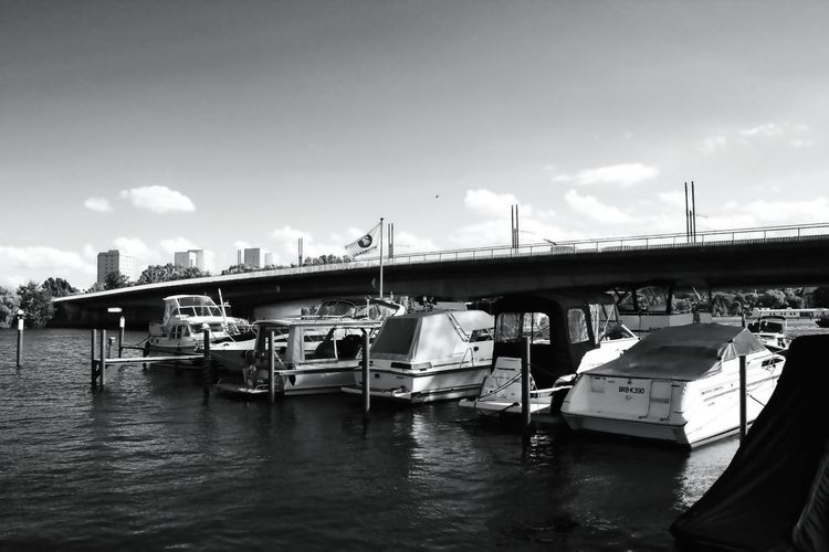 Blackandwhite BoatsAndBridges