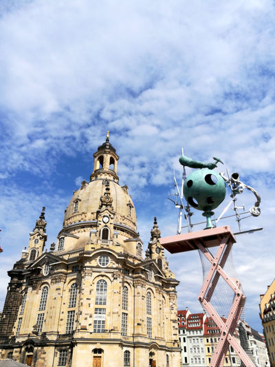 Architecture Building Exterior Built Structure Church Architecture Cloud - Sky Day Dresden Dresdener Frauenkirche History Low Angle View No People Oldtown Dresden Outdoors Place Of Worship Sculpture Sky Statue Travel Destinations