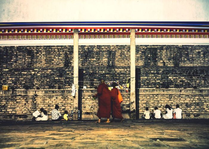 Shrine Buddhist Monks Architecture Men Built Structure Group Of People Real People Building Exterior People Walking Full Length Adult