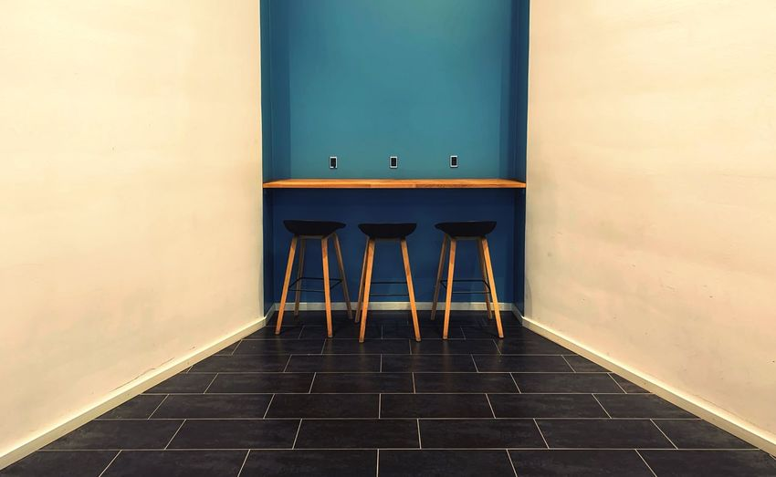 A corner Design Furnitures No People Wall - Building Feature Architecture Built Structure Indoors  Day Absence Seat Wood - Material Blue Empty