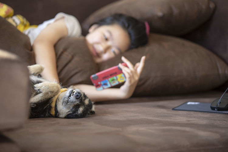 Girl using mobile phone with dog lying on bed at home