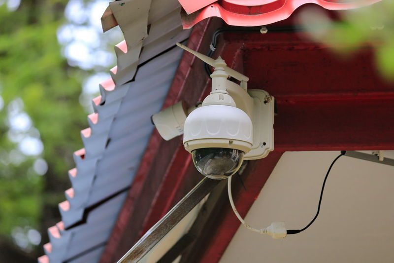 Close-up, of cctv on the roof
