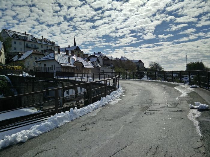 Bridge Cloud - Sky Clouds Cloudy Cold Temperature Day Extreme Weather Landscape No People Outdoors Radovljica Sky Slovenia Snow Winter Shades Of Winter