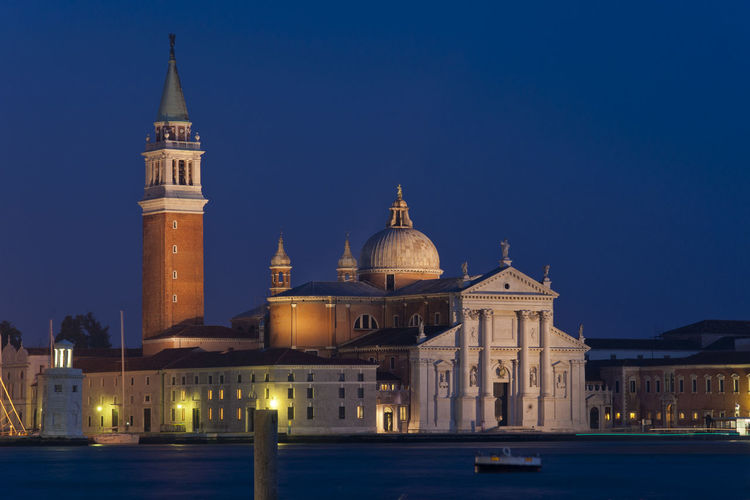 San giorgio maggiore and grand canal in city at night