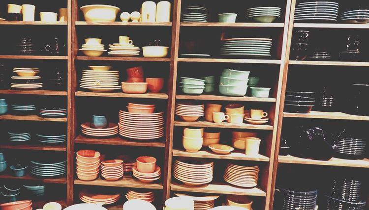 Shelf Large Group Of Objects Arrangement Shelves Abundance Indoors  Variation No People Close-up Day Plates Bowls Colours Colourful Stacks Of Dishes Dishes Organized Cup