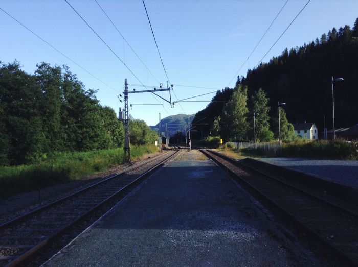 Train tracks at Hovin station. Hovin Train Train Tracks Trains Blue Sky Trees Nature Norway