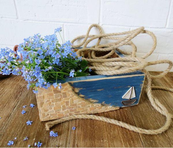 Country Life ящик кантристайл Countryside Wood короб Provence прованс Море керамика деревянный дом Flower Table High Angle View Beach Close-up