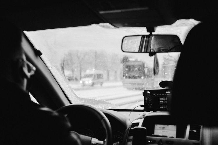 Polish Taxi Driver 35mm Blackandwhite Bnw Car Car Interior Close-up Day Driver Fuji Indoors  Land Vehicle Mode Of Transport Noir Et Blanc One Person People Real People Reflection Relaxing Street Taxi Transportation Vehicle Interior Vehicle Mirror