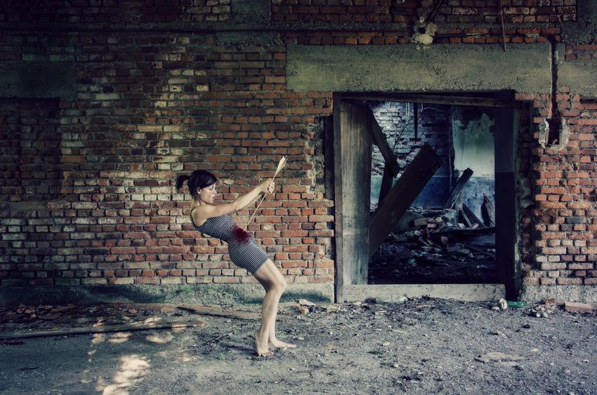 And Who Are Born Are Always Dying . . . Abandoned Abandoned Places Adult Adults Only Architecture Brick Wall Built Structure Day Full Length Leisure Activity One Person One Woman Only One Young Woman Only Only Women Outdoors People Real People Suicide SuicideGirls Young Adult