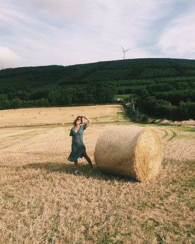 Field Land Plant Environment Landscape Farm Rural Scene Nature One Person Agriculture Hay Sky Day Bale  Adult Real People Leisure Activity Women Scenics - Nature Outdoors Ireland Europe Fashion Style Countryside