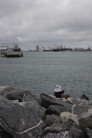Fishing Port Canaveral Cloud - Sky Fishing Fishing Time Freighters Jetty Park Jetty View One Person Outdoors Port Port Canaveral Sea