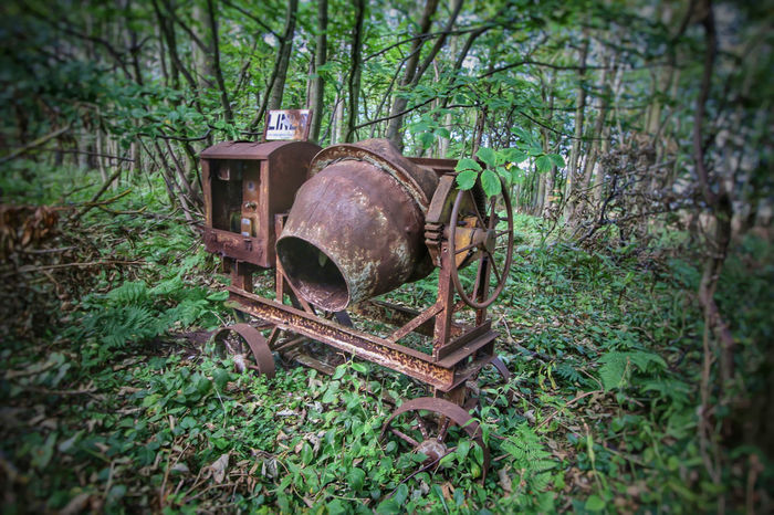 Rust Abandoned Cement Mixer Damaged Day Deterioration Field Forest Grass Green Color Growth Land Metal Nature No People Obsolete Old Outdoors Plant Run-down Rust Never Sleeps Rusty Selective Focus Tree