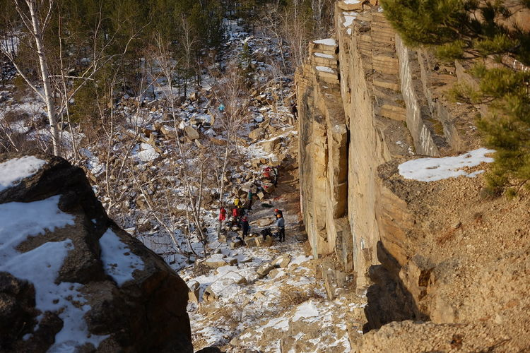 High angle view of people on rock