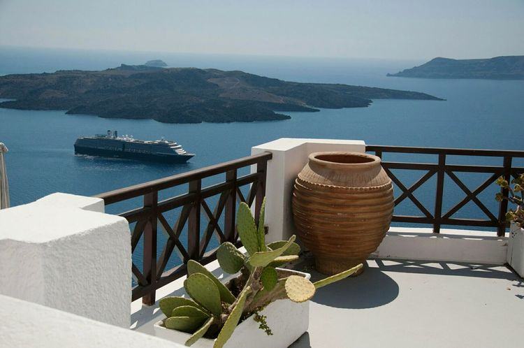 Santorini. Sea Water Horizon Over Water High Angle View Tranquil Scene Vacations Railing Tourist Resort Travel Destinations Scenics Tranquility Tourism Calm Beauty In Nature Ocean Island Santorini Coastline Nature Blue Holiday Dream