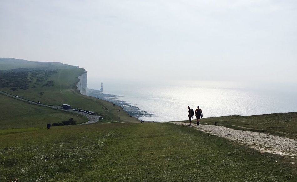Beachy Head English Channel Sea Water Chalk Cliff Lighthouse South Downs Way View From Above