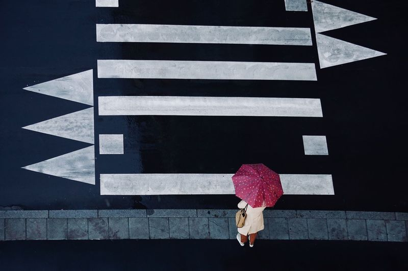 High angle view of man walking on footpath