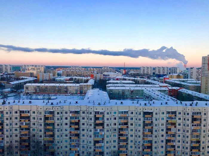 Sunset in the city Нижневартовск Закат восход Architecture Building Exterior City Cityscape Built Structure Residential Building Sky Sunset Urban Skyline