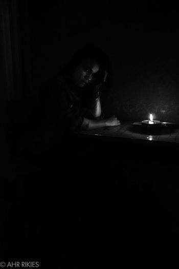 #alone #candle #depression #Shadow #shadowplay #shadows And Light #Silent Pool Dark Darkroom Indoors  Leisure Activity Night One Person People Real People Young Adult Discover Berlin Black And White Friday Visual Creativity