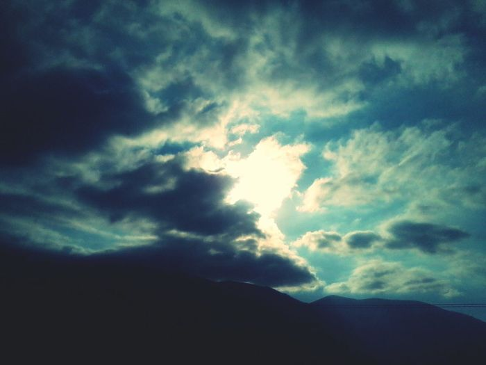 Stormy&sunny love it Cloud - Sky Nature Sky Beauty In Nature Scenics Silhouette Low Angle View Outdoors Day Sky Only Storm Cloud No People