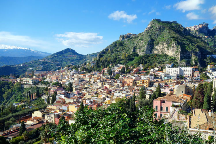 Landscape City Sky Taormina Messina Sicily Italy Mountain Flower Tree Sky Mountain Range Cloud - Sky