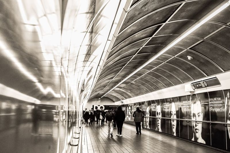 Passenger Transportation Travel Journey Indoors  Commuter Railroad Station Modern Men Walking Large Group Of People Subway Train Railroad Station Platform People Public Transportation Women Lifestyles Group Of People Architecture Illuminated From My Point Of View The Week On EyeEm