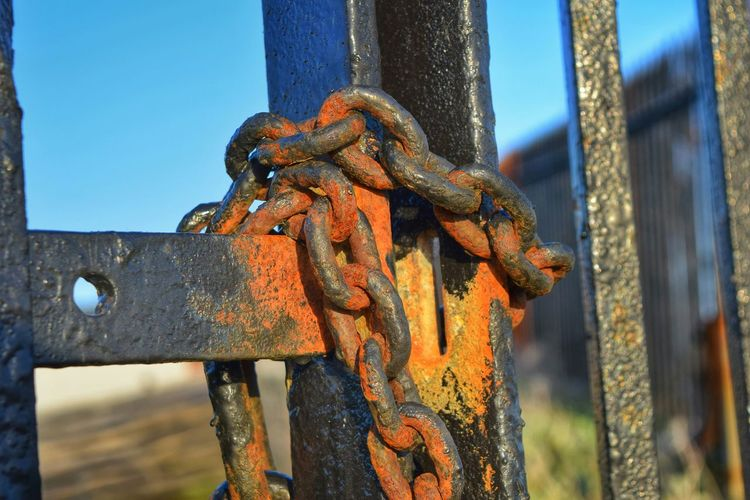 Close-up of rusty metal chain on gate