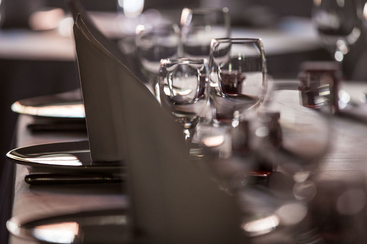 Close-up of empty drinking glass on table in restaurant