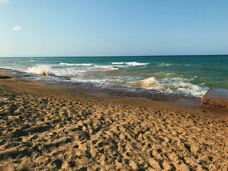 Sea Sand Beach Horizon Over Water Wave Nature Tranquility No People Day Morocco Nador View Mer Blue Water Beauty In Nature Clear Sky