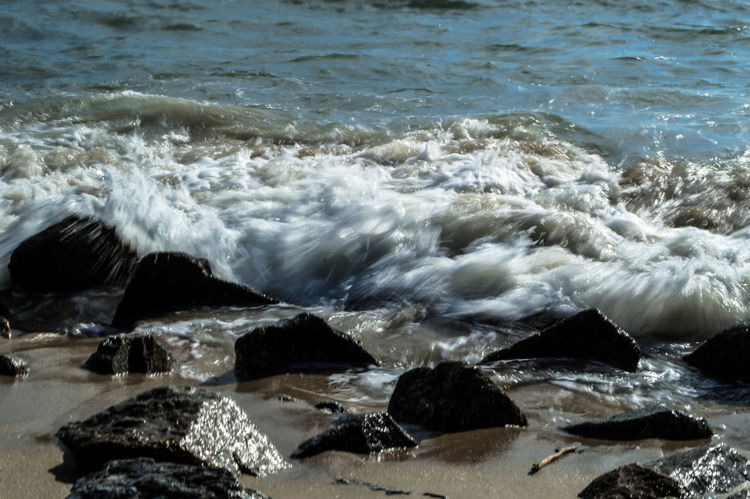 Beach Beauty In Nature Breaking Crash Day Force Hitting Motion Nature No People Outdoors Power In Nature Rock - Object Sea Water Wave